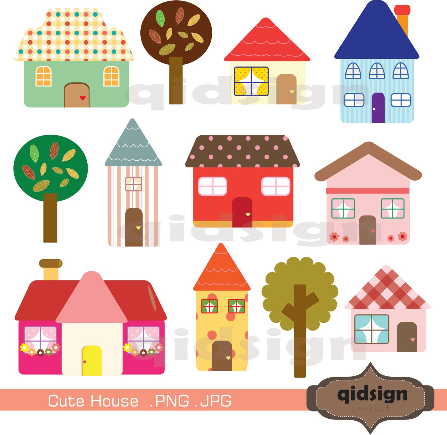 Cute House Clipart Personal and Commercial UseDigital.