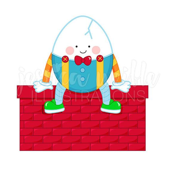 Humpty Dumpty Cute Digital Clipart, Mother Goose Rhyme Clip art, Nursery  Rhyme Graphics, Humpty Dumpty Illustration, #135.