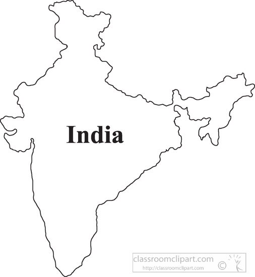 India Outline Map Clipart.