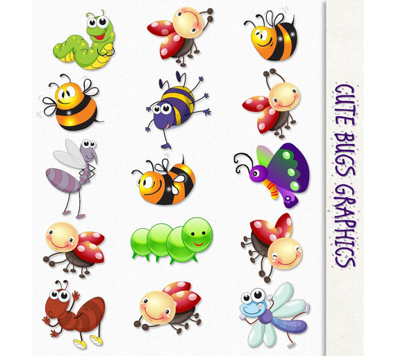 Cute Bugs Clip Art Insects Clipart Scrapbook Graphic.