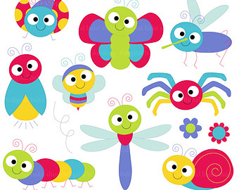 Bug Digital clipart, Cute Bugs Clipart, Insect clip art, Butterfly.