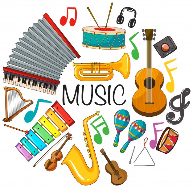 Different kinds of musical instruments Vector.