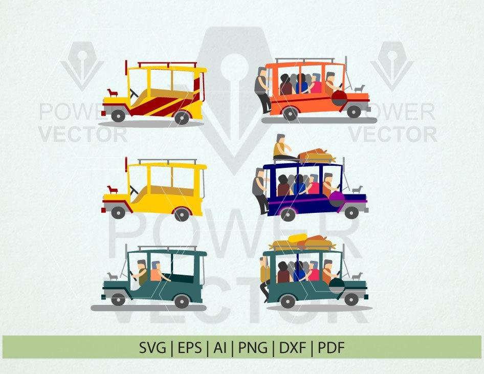 Philippine Jeepney Clip Art. Pinoy Jeep Svg. Passenger Jeepney.