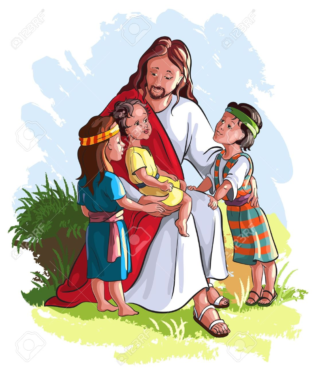 Jesus And The Children Clipart.