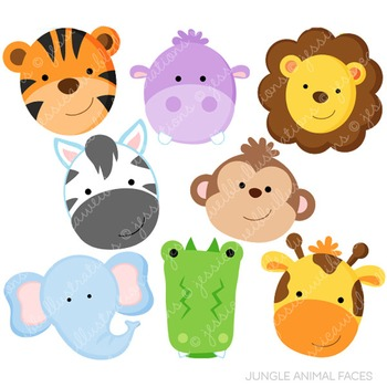 Jungle Animal Faces Cute Digital Clipart, Jungle Clip Art.