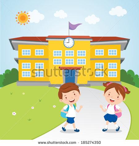 Kids Go School Vector Illustration School Stock Vector 185274350.