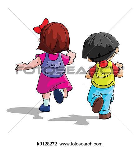 Clipart of Kids going to School k9128274.