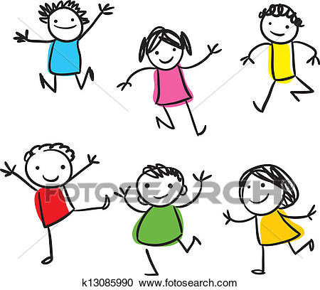 Happy kids jumping Clipart.