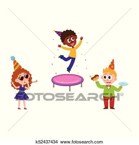 Kids jump, blow whistle, eat birthday cake Clipart.