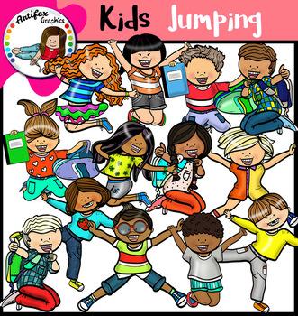 Happy Kids Jumping Clip Art.