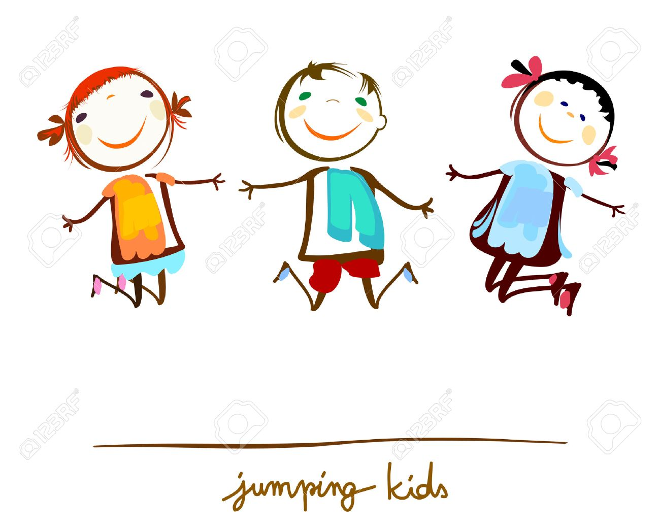 happy kids jumping.