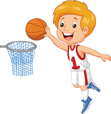 Children Playing Basketball Clipart.