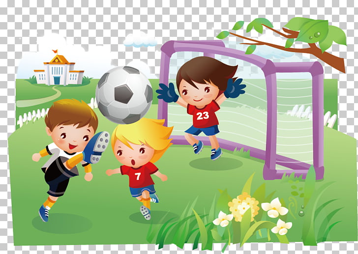 Children\'s cartoon material, three boys playing soccer.