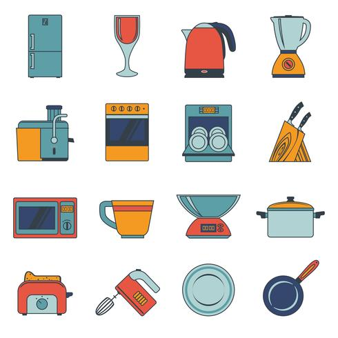 Kitchen appliances icons flat.