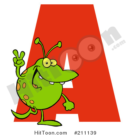 Alphabet Clipart #211139: Letter a with an Alien by Hit Toon.