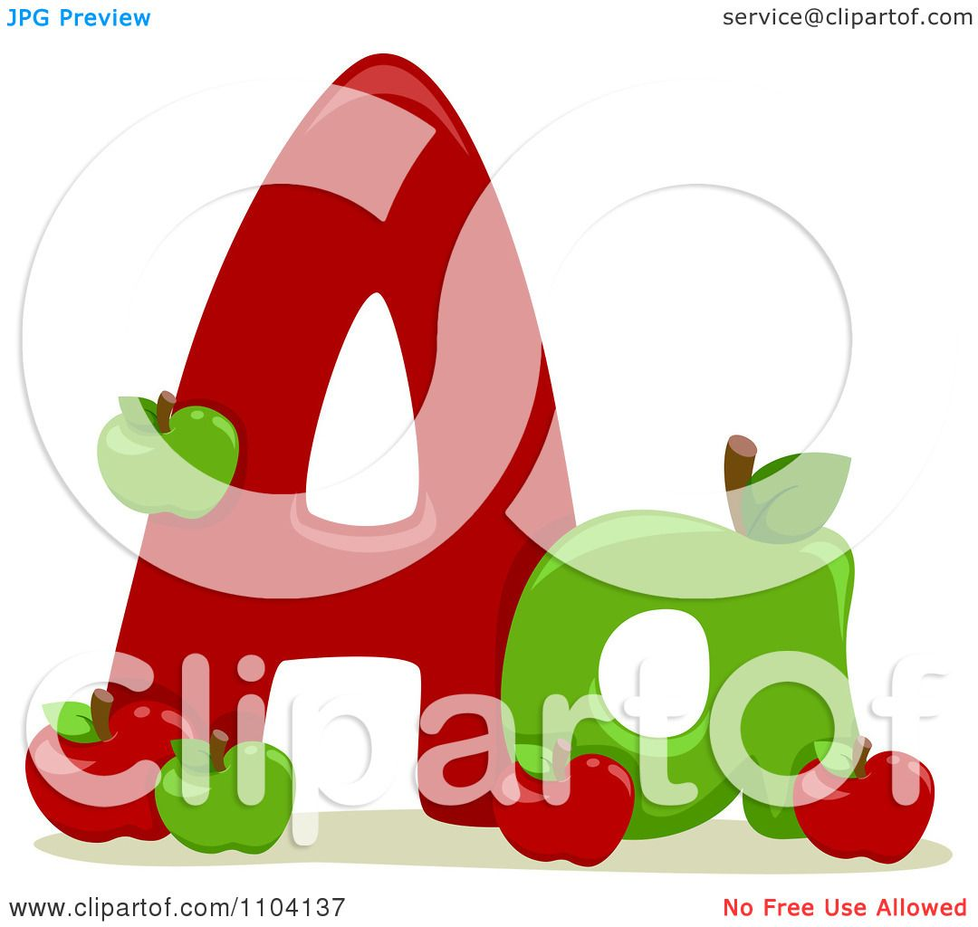 Clipart Capital And Lowercase Letter A With Apples.
