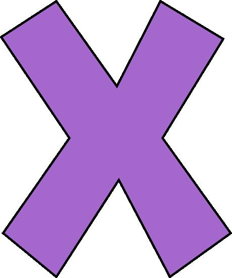 Purple Letter X Clip Art.