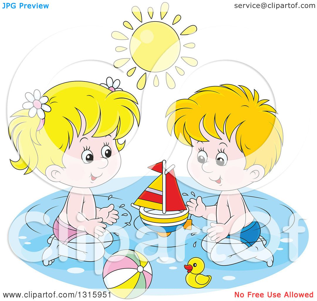 Clipart of a Cartoon White Boy and Girl Playing with a Sailboat.