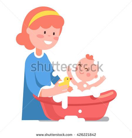 Clipart Of Little Girl Holding Her Rubber Ducky.