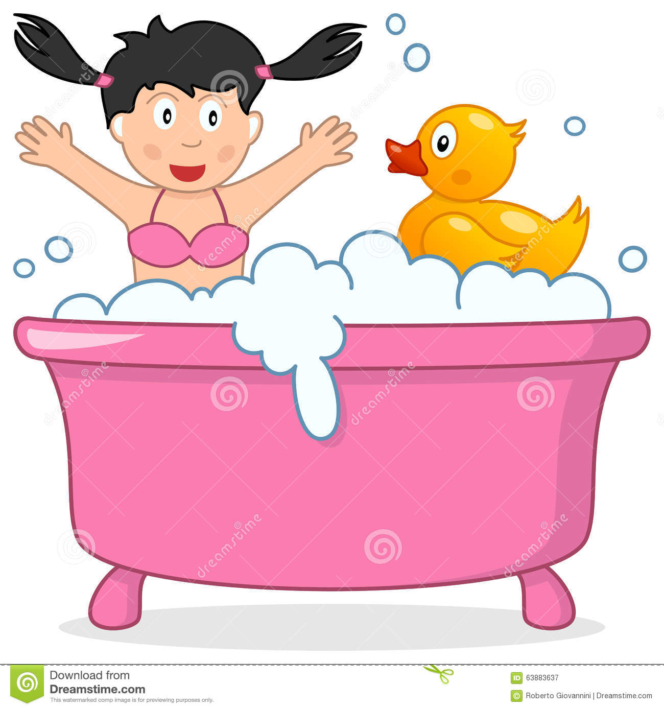 Clipart Of Little Girl Holding Her Rubber Ducky.