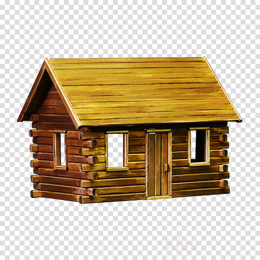 log cabin shed house roof wood clipart.