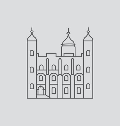 Tower Of London line Illustration Clipart Image.