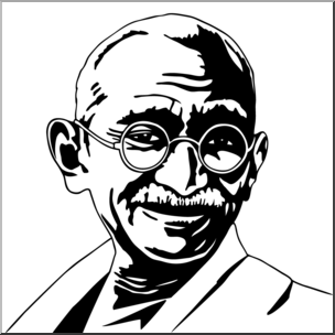 Clip Art: India: Mahatma Gandhi B&W I abcteach.com.