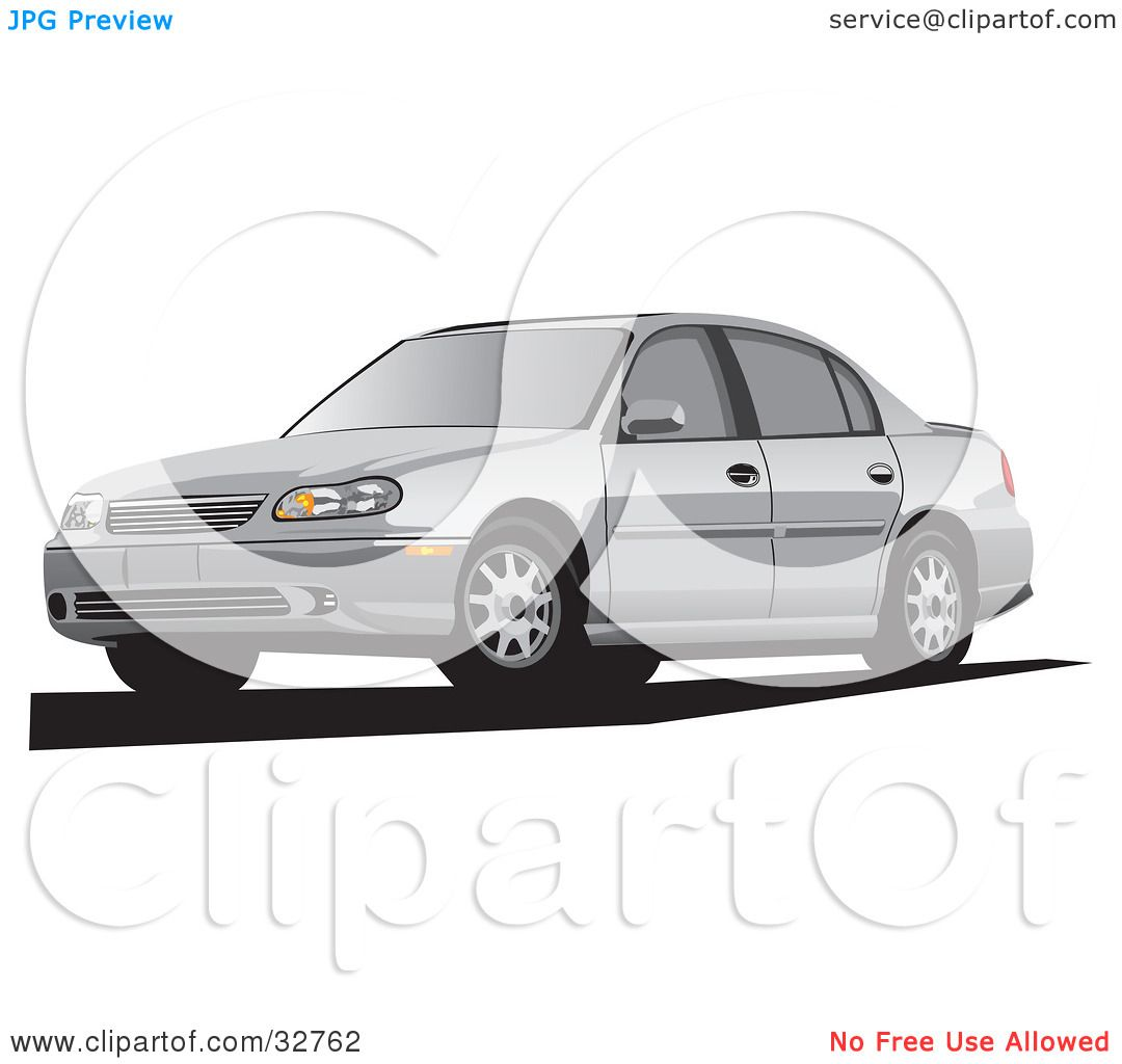 Clipart Illustration of a Silver Chevrolet Malibu Cars by David.