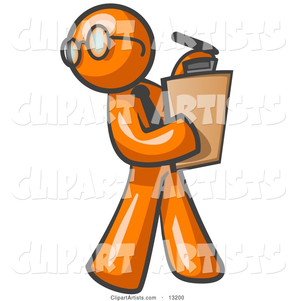 Orange Man Holding a Clipboard While Reviewing Employess.