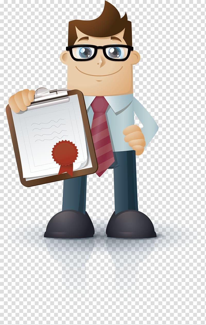 Man holding clipboard , Logo Theme Icon, Successful.