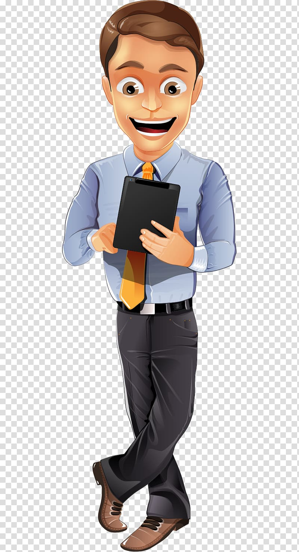 Man holding tablet illustration , Businessperson Character.
