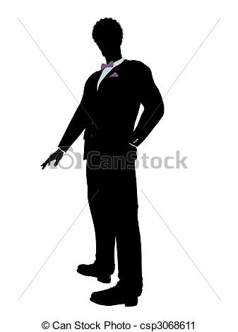 Clipart of African American Man in a Tuxedo Silhouette.
