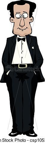 Vector Illustration of In a tuxedo.