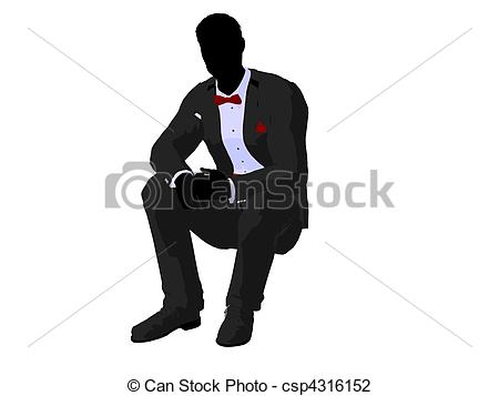 Clip Art of Man in a Tuxedo Silhouette.
