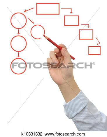 Clip Art of Business man hand drawing an empty flow chart.