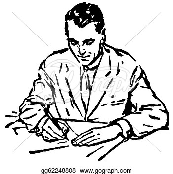 A Man Writing Clipart.