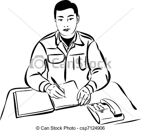Clipart Of Man Writing Out A Flow Chart And A Laptop.