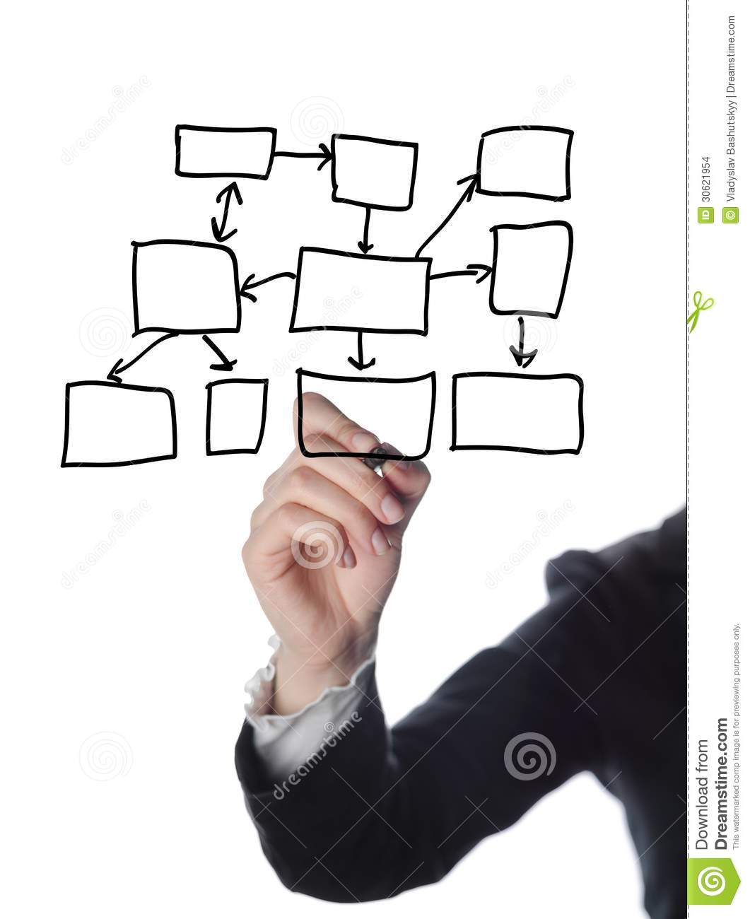 Business Man Writing Process Flowchart Diagram Stock Images.