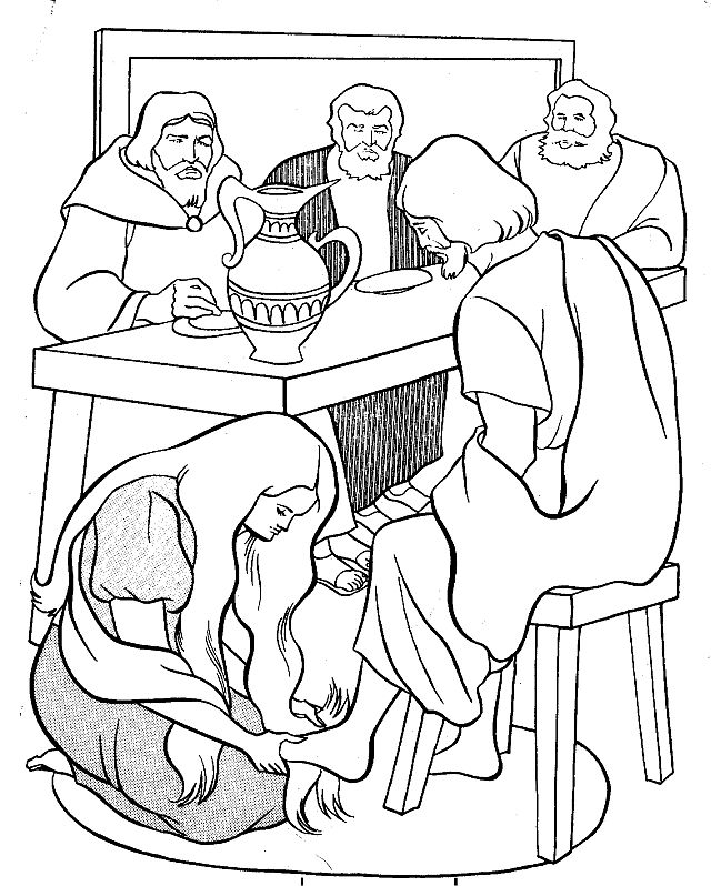 Clipart of mary washing jesus feet.
