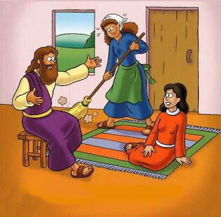 Sunday School Mary and Martha Jigsaw Puzzle Printable Activity.