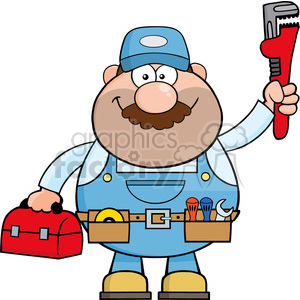 8535 Royalty Free RF Clipart Illustration Mechanic Cartoon Character With  Wrench And Tool Box Vector Illustration Isolated On White clipart..