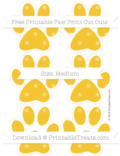 Saffron Yellow Star Pattern Medium Paw Print Cut Outs — Printable.