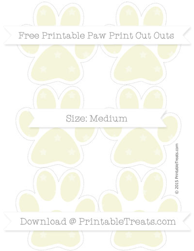 Beige Star Pattern Medium Paw Print Cut Outs — Printable Treats.com.