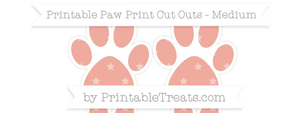 Pastel Coral Star Pattern Medium Paw Print Cut Outs — Printable.