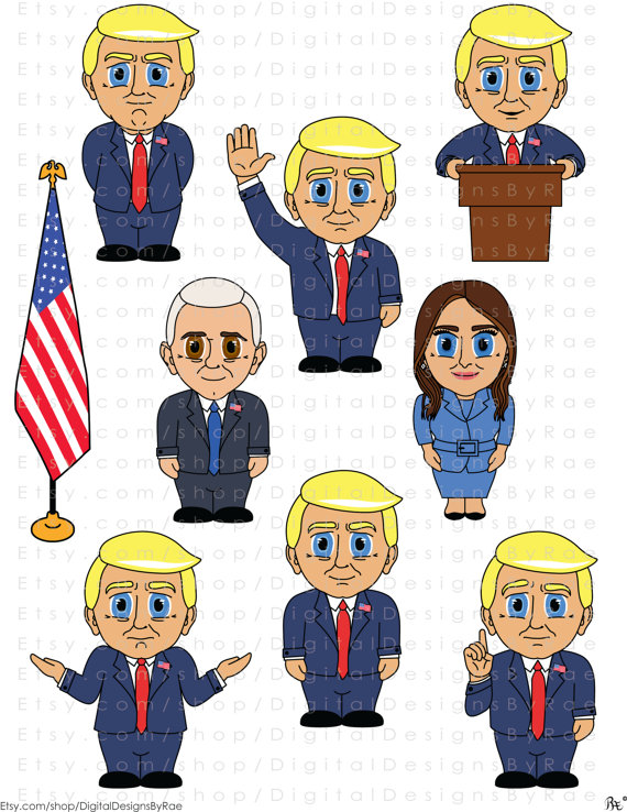 Donald Trump Digital Clipart Set 2016 Presidential Election with.