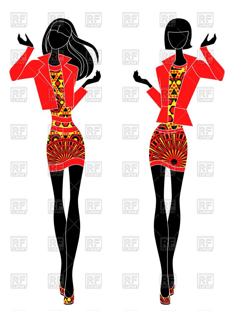 Slim stylized models in short ornate dresses Stock Vector Image.