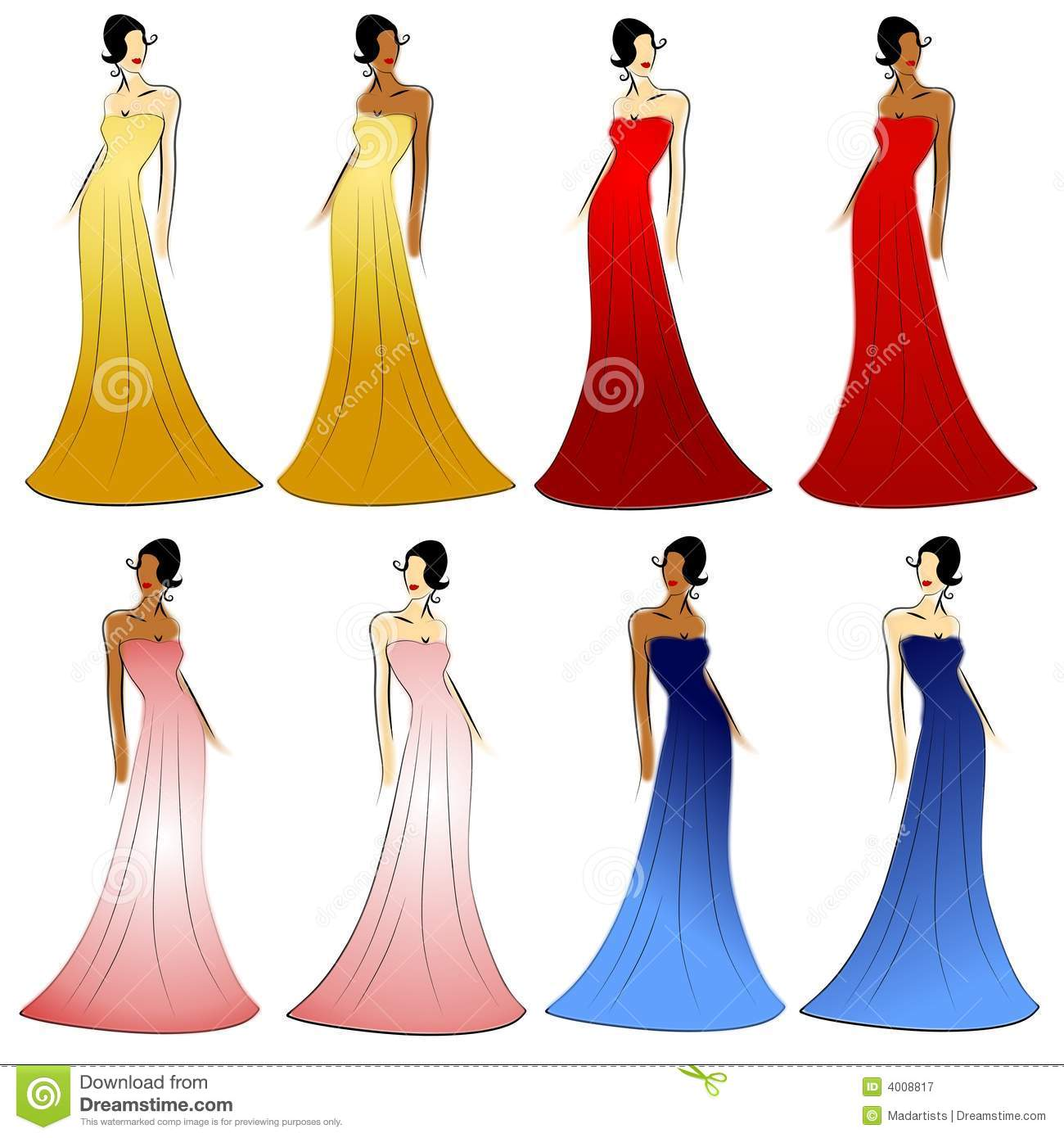 Female Fashion Models Gowns Stock Vector.