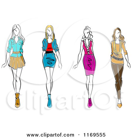 Clipart of a Sketched Fashion Models Walking.
