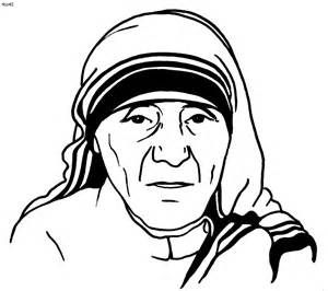 Mother Teresa Coloring Page sketch template.
