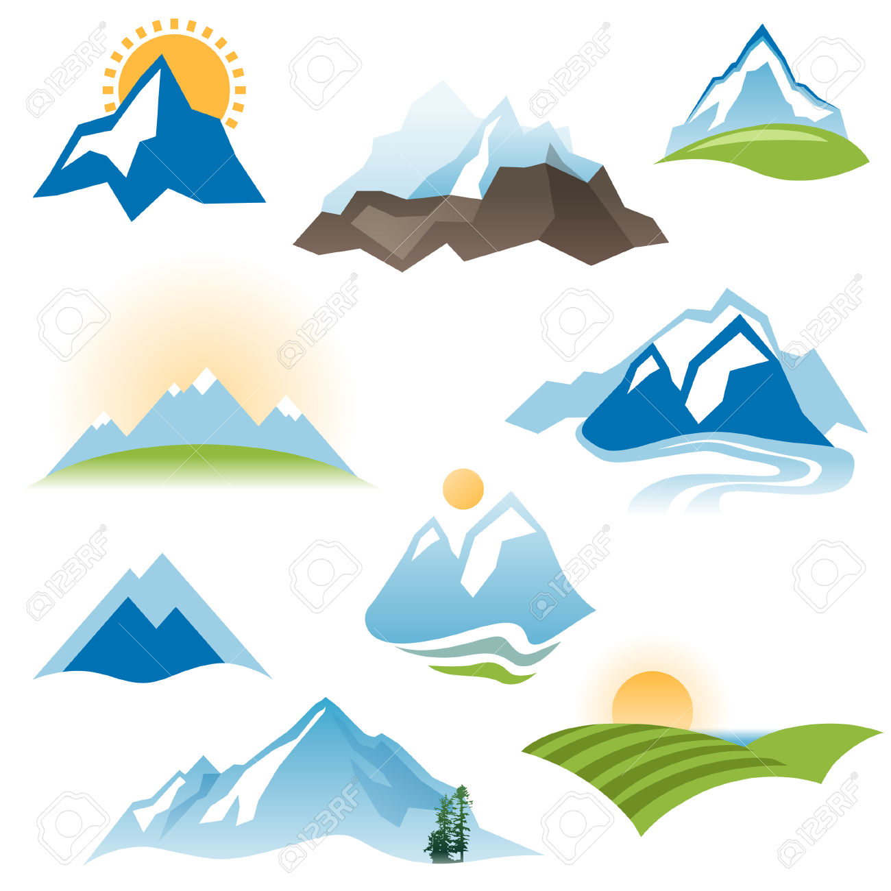 Mountain And Sun Clipart.